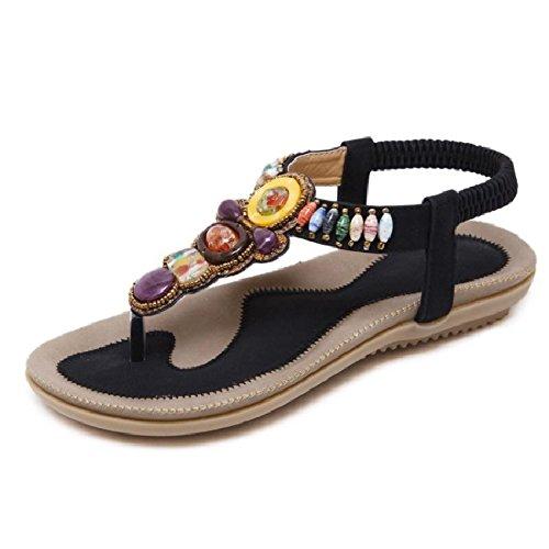 YMFIE Mode décontractée Confortable bohème perlé Broches Plates Sandales Dames été Chaussures de Plage antidérapantes D 37 EU