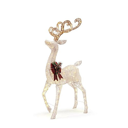 56 in. LED Lighted White PVC Standing Deer by Home Accents Holiday (Image #1)