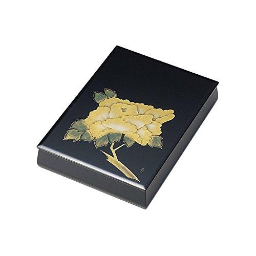 日展作家 冨田立山作 文庫 書類入れ 書類ケース ギフト シック ギフト 越前漆器 艶 上品 漆塗 うるし 漆器 高級 日本製 沈金牡丹 板蓋文庫 内梨地A4サイズ 黒 B014BGCO3O