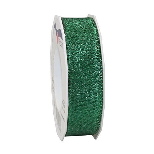 Morex Ribbon 15125/20-035 French Wired Polyester Sacramento Ribbon, 1-Inch by 22-Yard, Emerald