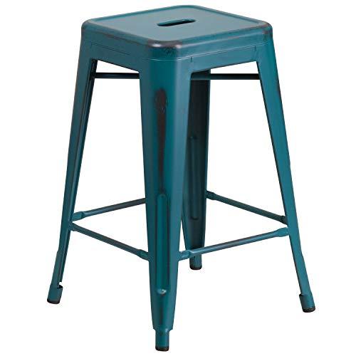 Flash Furniture ET-BT3503-24-KB-GG Colorful Restaurant Counter Distressed Blue-TL Metal Stool, 1 Pack, Kelly Teal