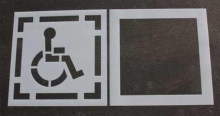 Pavement Stencil, 30 in, DOT Handicap, 1/16