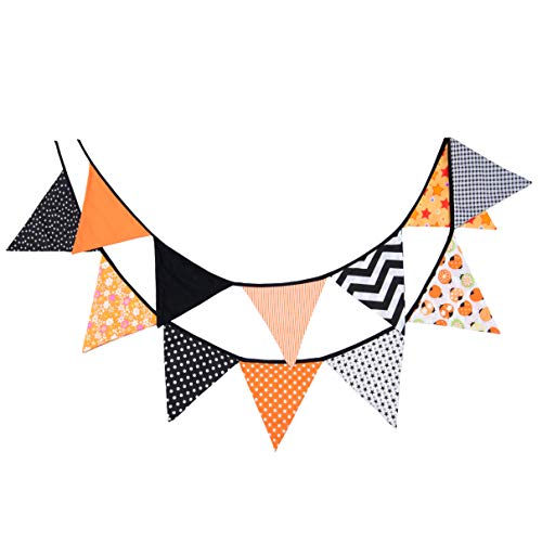 Fabric Orange and Black Banner Fall Decoration Outdoor | Halloween Party Decorations Supplies ()