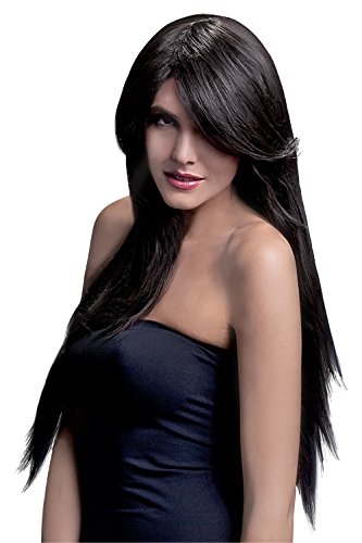 Fever Women's Long Straight Brown Wig with Feathered Bangs, 28inch, One Size, Amber,  5020570425350]()