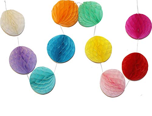 LG-Free 10pcs 8 inch Paper Honeycomb Balls String Multi-Color Hanging Party Flower Balls Decorations Tissue Paper Pom Poms Balls for Wedding Baby Shower Party Room Home Christmas Decor(String -