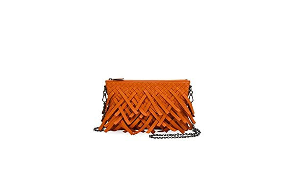 9ee30011d51a Bottega Veneta Palio Fringe Woven Leather Zip-Top Pouch Crossbody Bag Made  in Italy  Handbags  Amazon.com