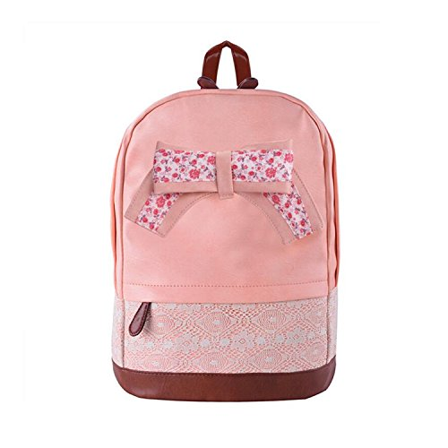 Fashion Girls Backpack, ReachTop Sweet Lace Floral Bowknot PU Leather Leisure Rucksack For Girls Student Pink Cute Womens School Bag Birthday -