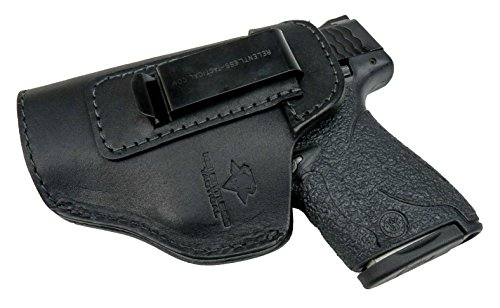 Plus Holster Duty - Relentless Tactical The Defender Leather IWB Holster - Made in USA - for S&W M&P Shield - Glock 17 19 22 23 32 33/Springfield XD & XDS/Plus All Similar Sized Handguns – Black – Left Handed