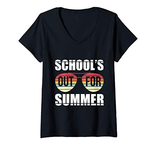 Womens Retro Last Day Of School Schools Out For Summer Teacher Gift V-Neck T-Shirt