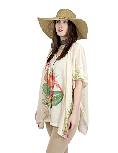 Flamingo Print Tunic Top Short Sleeves Slouchy Loose Kimono with Feather Charms by A&O International