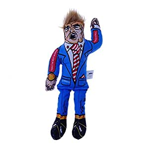 PetEzy Donald Trump Dog Chew Toy with Squeaker, 10'' Best Gag Funny Dog Toy for Friends