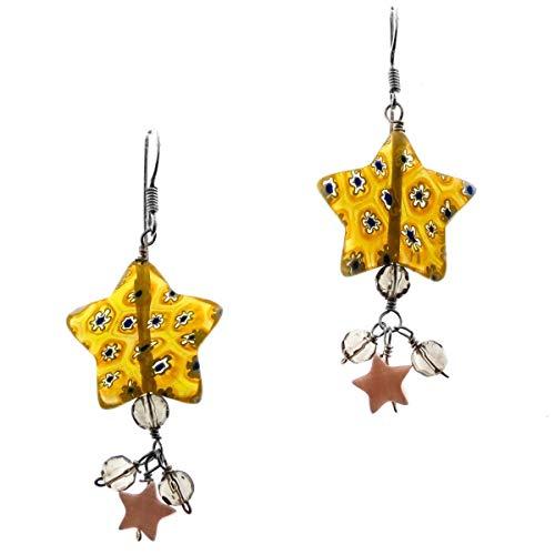 1'' Gorgeous LAMPWORK MILLEFIORI Glass Yellow Silver Drop Earrings - Pendant Drop Glass Millefiori