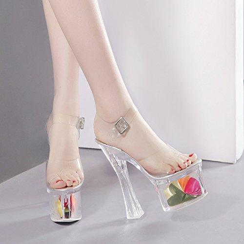 Épaisse 18cm Boîte Mode Sexy Chaussures De Talons Hauts Transparent Chaussures Semelles Nuit Épaisses Cristal Défilé À Hgtyu Avec S De Imperméable S Blanc De Sandales vf77d