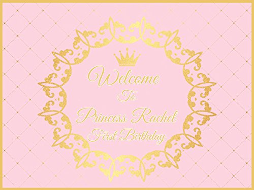 Custom Pink  Gold Princess Crown Birthday Poster – Size 24×36, 48×24, 48×36; Royal Birthday, Personalized Banner, Little princess;10000364 Handmade P…