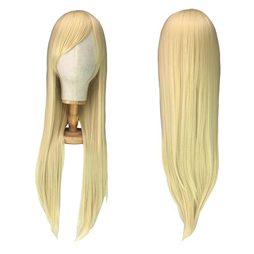 Cosplay Blonde Wigs for Women Girls, Halloween Costume Anime Party Wig, Long Straight Blond Hair Wig + Free Wig Cap