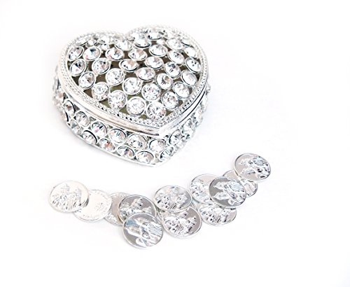 Shaped Coin Silver (Joice Gift Heart Shaped Wedding Arras with Decorative Rhinestone Crystal and Coins Set)