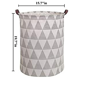 HIYAGON Large Sized Storage Baskets with Handle,Collapsible & Convenient Home Organizer Containers for Kids Toys,Baby Clothing (Grey Triangle)