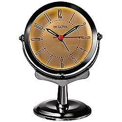 Bulova B8120 Pedestal Alarm Clock, Almond & Silver