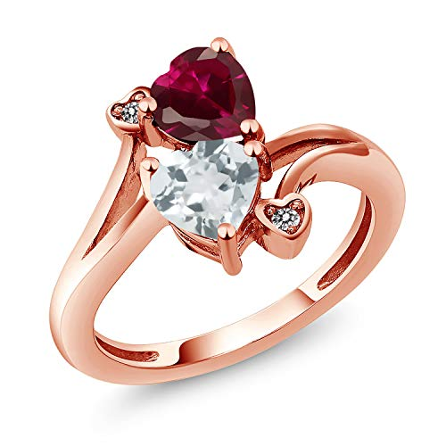 Gem Stone King 1.67 Ct Red Created Ruby Sky Blue Aquamarine 18K Rose Gold Plated Silver Ring (Size 6) (Aquamarine 18k Rose)