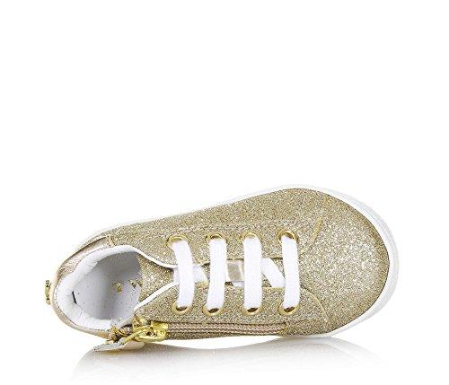 Twin-Set Goldener Schuh mit Schnürsenkeln Aus Glitzern und Leder, phantasievoll und Modisch, Mädchen-27