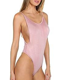 Women's Spaghetti Strap Armhole Plain Backless Bodysuit