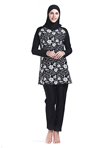 Women Muslim Swimwear Full Coverage Islamic Modest Swimsuit 3 Pieces Full Body with Hijab Sun Protection (MS06, XXL) by MZ Garment