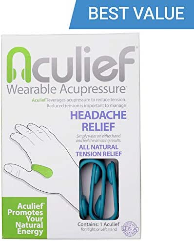 Aculief- Award Winning Natural Headache and Tension Relief - Wearable Acupressure 2 Pack- (Teal)