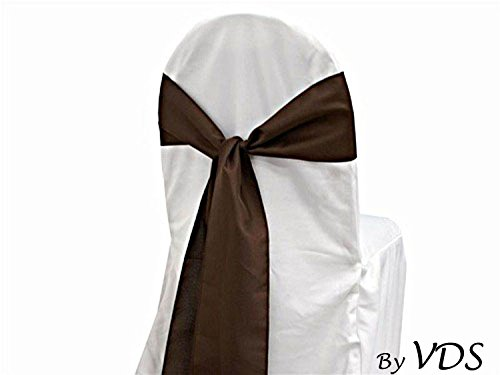 VDS Set of 10 Elegant Satin Wedding Chair Sashes Bows for wedding Party Banquet Decor - Ribbon Tie Back Sash bow – Chocolate Brown