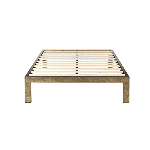 """The Frame  Gold Brushed Steel Frame Platform Metal Bed Frame/Mattress Foundation, No Boxspring Needed, Wooden Slat Support, King, 14"""" H"""