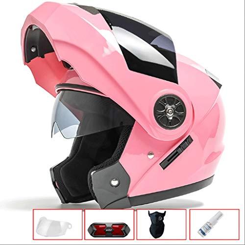 CCF Casco de Doble Lente para Motocicleta Hombres y Mujeres Verano de protección Solar Four Seasons Universal de Cara...
