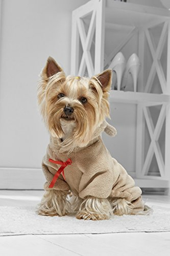 Toy Dog Teddy Bear Onesie For Yorkie Pom Chihuahua Papillon Lhasa Apso Shih Tsu (Toy Small Size, light brown, beige, red) - Yorkie Teddy Bear Costume