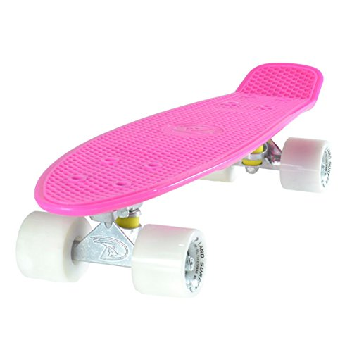 Land-Surfer Cruiser Skateboard 22 Inch Pink Board Solid White Wheels (Penny Board Blue And Black)