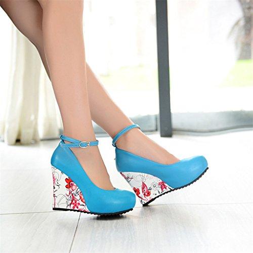 Pu tacco Shallow autunno Shoes donne Scarpe per casual inclinata blu con bocca le Cuneo primavera pnEqwxO
