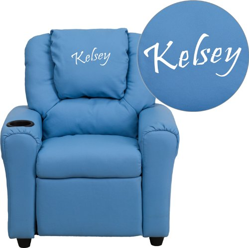 Flash Furniture Personalized Light Blue Vinyl Kids Recliner with Cup Holder and Headrest