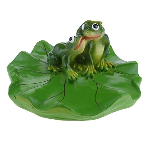 Homyl 6 Types Artificial Pond Lily Floating Decoration Plant and Frog Ornament Fountain Pond Decoration Craft Baby Bathtub Toy 1-3 Frogs Choose - Kissing, as described by Homyl