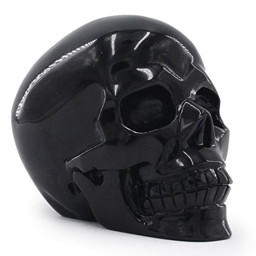 Laufout 5.08lb Natural Obsidian Carved Realistic Crystal Skull Sculpture with Removable Chin, Healing Energy Reiki Gemstone Collectible Figurine