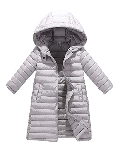 Gray Warm Coat Hooded Child Quilted Slim fit Jacket Down Outerwear BESBOMIG Puffa Padded Girls Jacket Cotton Winter Boys with Big Long qT7RWSw