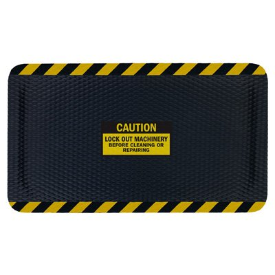 Nitrile Rubber Hog Heaven™ Safety Message Anti-Fatigue Mats - Caution Lock Out Machinery - 4'w x 6'l, Black/Black Border CAUTION LOCK OUT MACHINERY BEFORE CLEANING OR REPAIRING - Vertical -7/8'' by Emedco (Image #1)