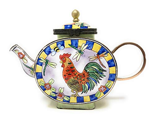 Kelvin Chen Rooster, Dragonflies and Flowers Enameled Miniature Teapot with Hinged Lid, 5 Inches Long