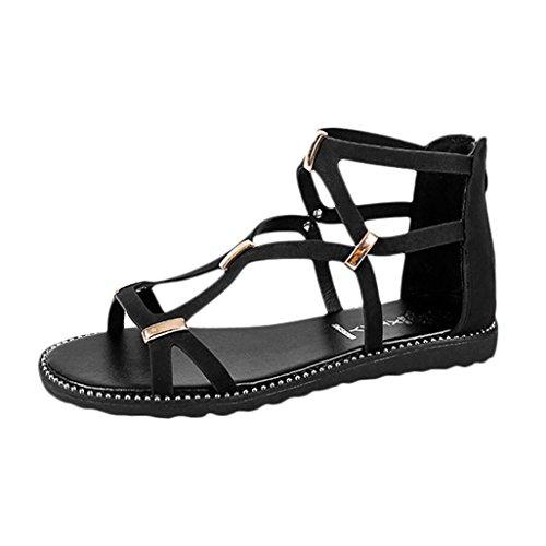 Playa Cordones Fiesta Open Toe Negro Romano Zapatillas Mujer Correa del para Atado Cruz de Blanda Zapatos Tobillo PAOLIAN Plano Zapatos 2018 Sandalias Verano de Suela Retro al Sandalias Lazo 1zFpn