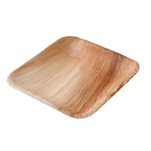 kaufdichgruen.de DTW05369 Einwegteller aus Palmblatt, 25 Stück, eckig, 15x15 cm, kompostierbar