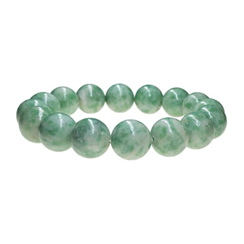 Natural Green Jade Bracelet, 12mm Round Beads Natural Crystal Gemstone Hand String for Unisex Use