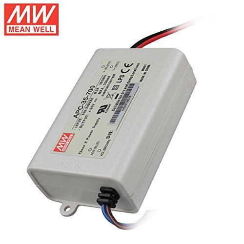 - AC to DC Power Supply Enclosed LED Driver Single Output 15-50VDC @ 700mA, 35 Watt