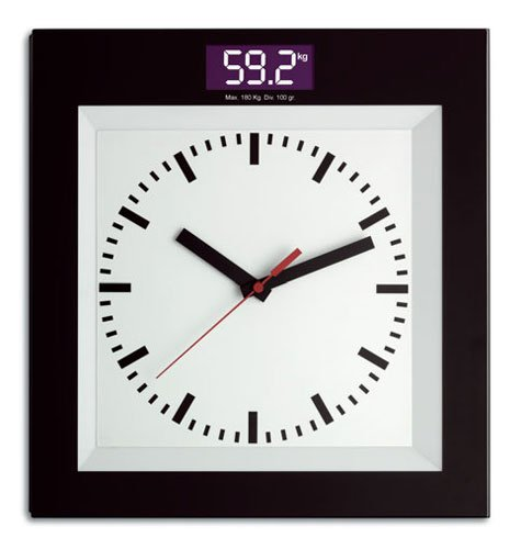 TFA bathroom scale with quartz clock, made of glass by TFA Dostmann