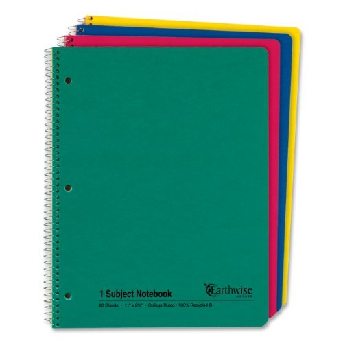 Ampad Single Wire Notebook, Recycled, Size 11 x 8-1/2, 1 Subject, Assorted Covers, College Ruled With Margin Line,80 Sheets per Notebook (25-206)