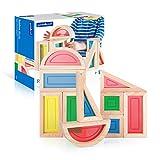 Guidecraft Rainbow Blocks Set - 10 Pcs. Kids Learning & Educational Toys, Stacking Blocks