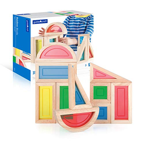 Guidecraft Rainbow Blocks Set - 10 Pcs. Kids Learning & Educational Toys, Stacking Blocks by Guidecraft