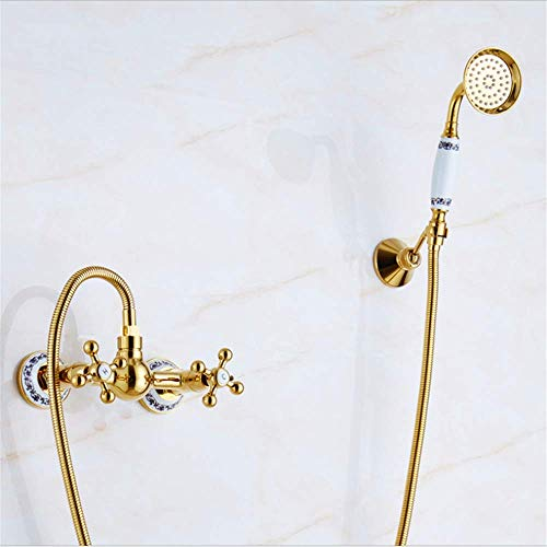 (Bathroom Wall Mounted Shower System Set,Gold Plated Bathtub Faucet Double, Golden Full Copper Hot and Cold Mixer )