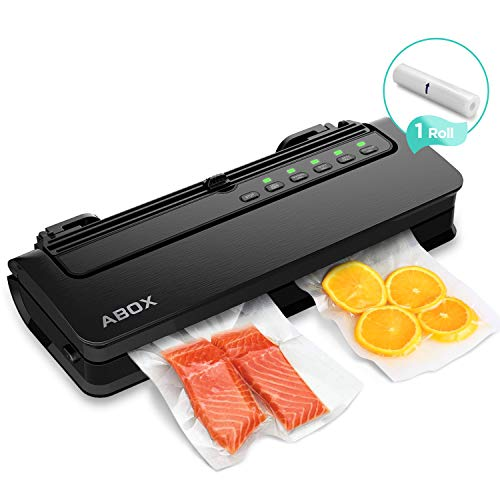Vacuum Sealer Machine, ABOX V63 Automatic Food Vacuum Air Sealing System with Built-in Cutter, Starter Kit Roll and Holder for Food Saver -