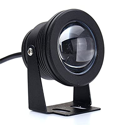 Black : Waterproof IP68 Aluminum LED Underwater Light 10W Marine Boat Yacht Fishing Lamp Blue Light LED Floodlight DC 12V